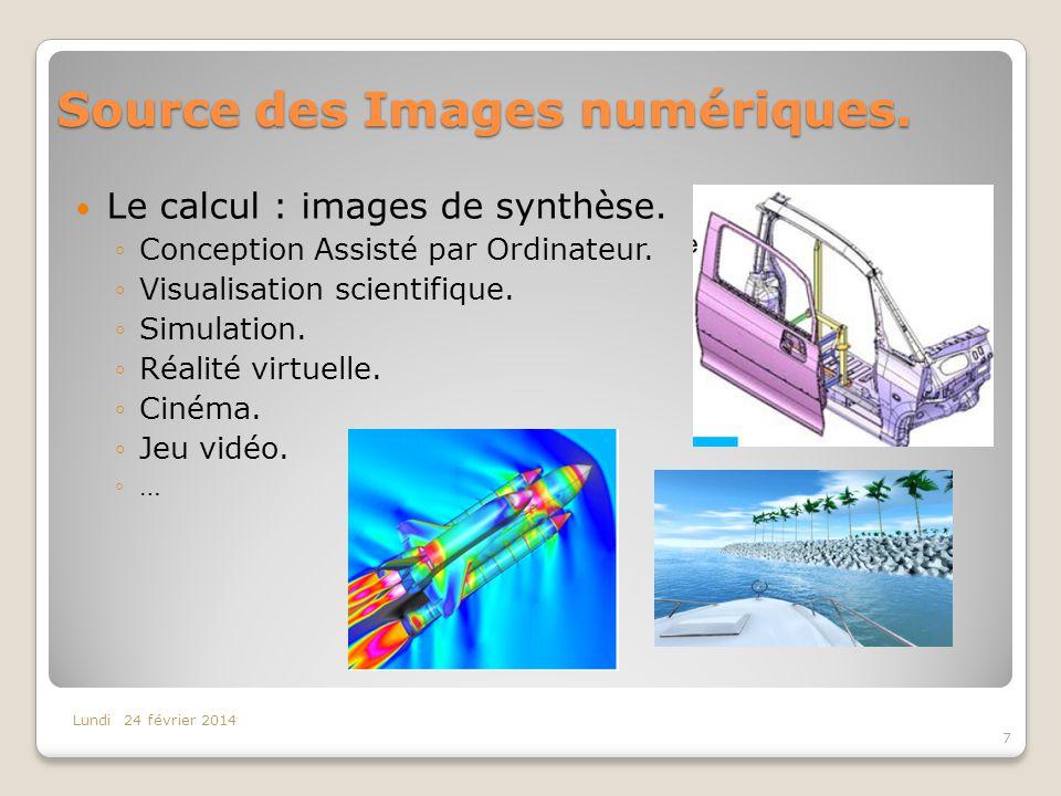 Source des Images numériques. Le calcul : images de synthèse. Conception Assisté par Ordinateur. Visualisation scientifique. Simulation. Réalité virtu