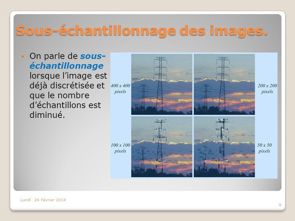 Sous-échantillonnage des images. On parle de sous- échantillonnage lorsque limage est déjà discrétisée et que le nombre déchantillons est diminué. Lun