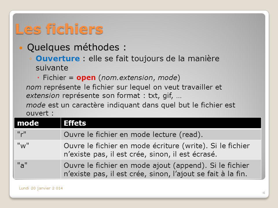 Les fichiers Quelques méthodes : Ouverture : elle se fait toujours de la manière suivante Fichier = open (nom.extension, mode) nom représente le fichi