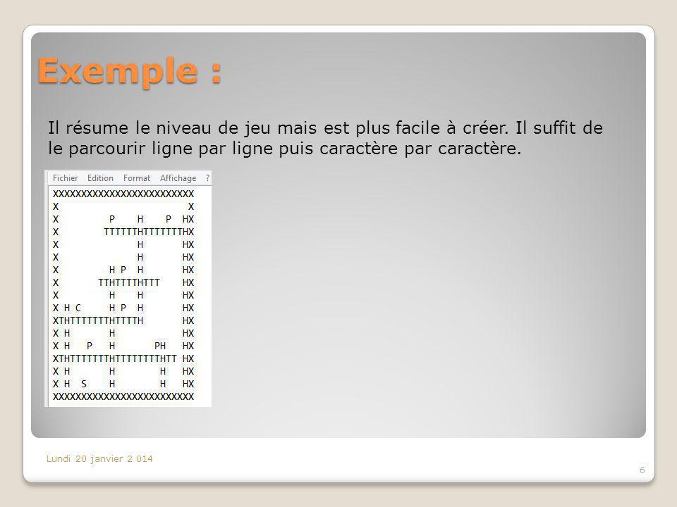 Exemple : Il résume le niveau de jeu mais est plus facile à créer. Il suffit de le parcourir ligne par ligne puis caractère par caractère. Lundi 20 ja