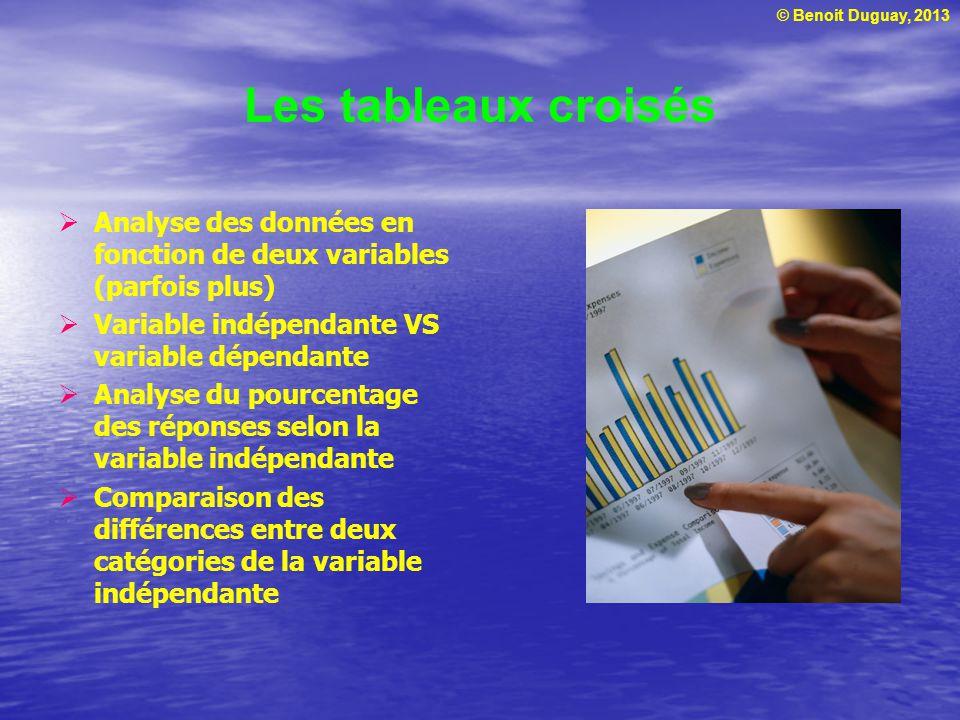 © Benoit Duguay, 2013 Les tableaux croisés Analyse des données en fonction de deux variables (parfois plus) Variable indépendante VS variable dépendante Analyse du pourcentage des réponses selon la variable indépendante Comparaison des différences entre deux catégories de la variable indépendante
