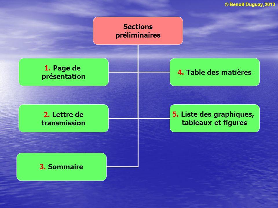 © Benoit Duguay, 2013 Sections préliminaires 1. Page de présentation 2.