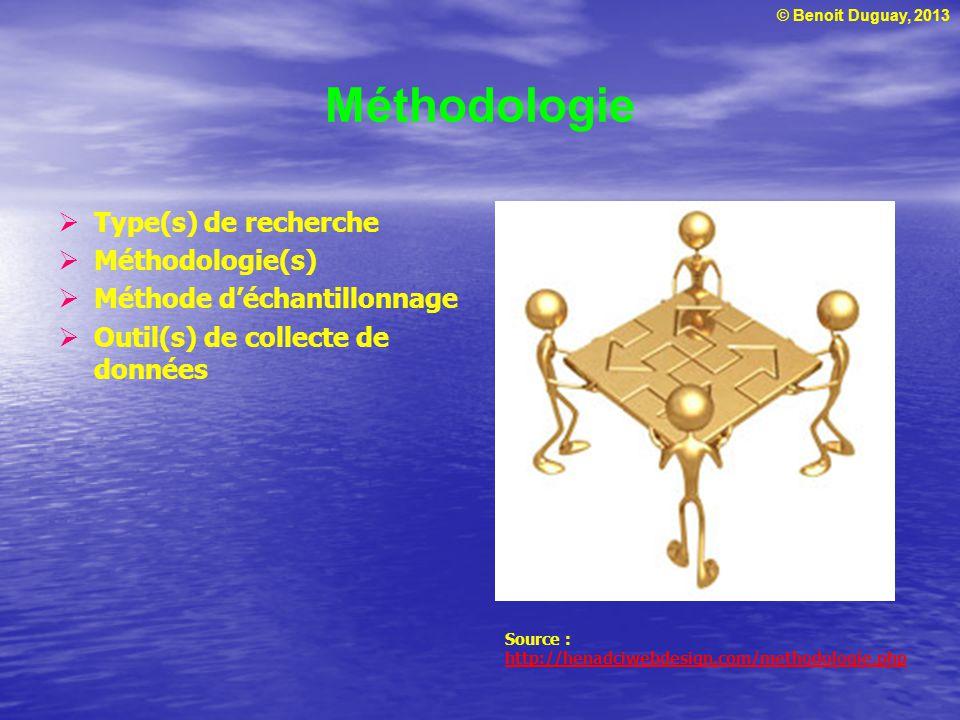 © Benoit Duguay, 2013 Méthodologie Type(s) de recherche Méthodologie(s) Méthode déchantillonnage Outil(s) de collecte de données Source : http://henadciwebdesign.com/methodologie.php http://henadciwebdesign.com/methodologie.php