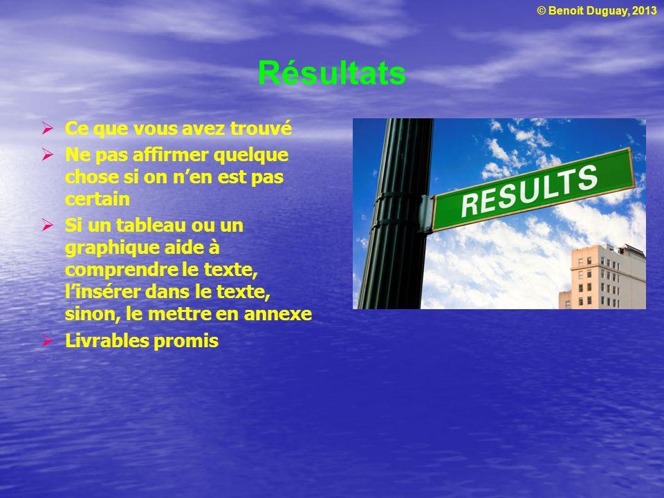 © Benoit Duguay, 2013 Résultats Ce que vous avez trouvé Ne pas affirmer quelque chose si on nen est pas certain Si un tableau ou un graphique aide à comprendre le texte, linsérer dans le texte, sinon, le mettre en annexe Livrables promis