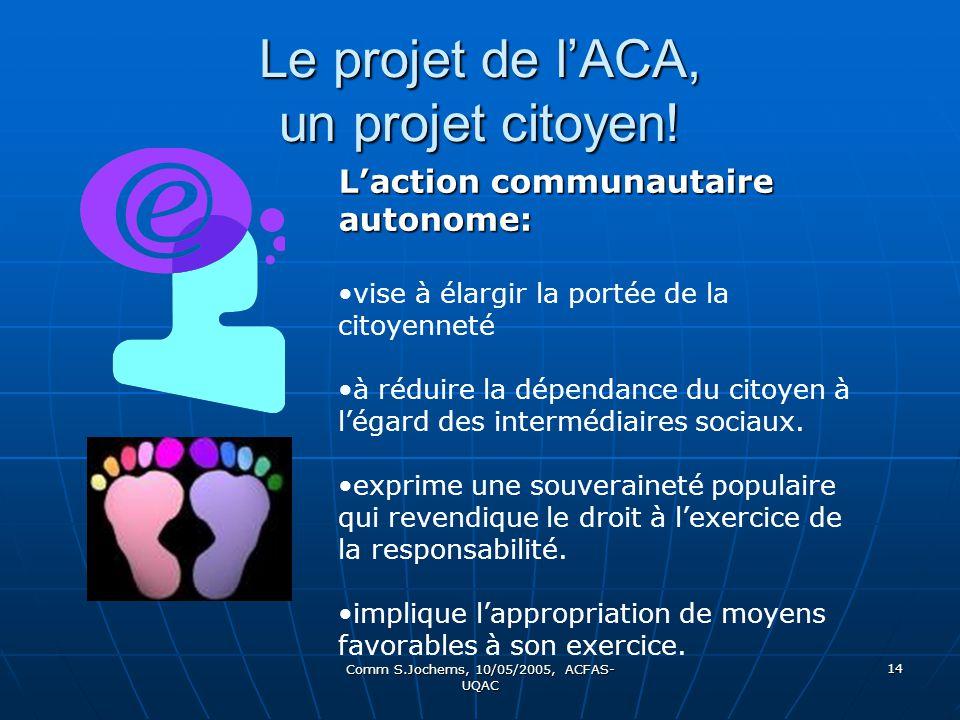 Comm S.Jochems, 10/05/2005, ACFAS- UQAC 14 Le projet de lACA, un projet citoyen! Laction communautaire autonome: vise à élargir la portée de la citoye