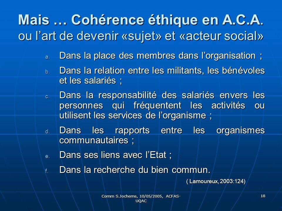 Comm S.Jochems, 10/05/2005, ACFAS- UQAC 18 Mais … Cohérence éthique en A.C.A. ou lart de devenir «sujet» et «acteur social» a. Dans la place des membr
