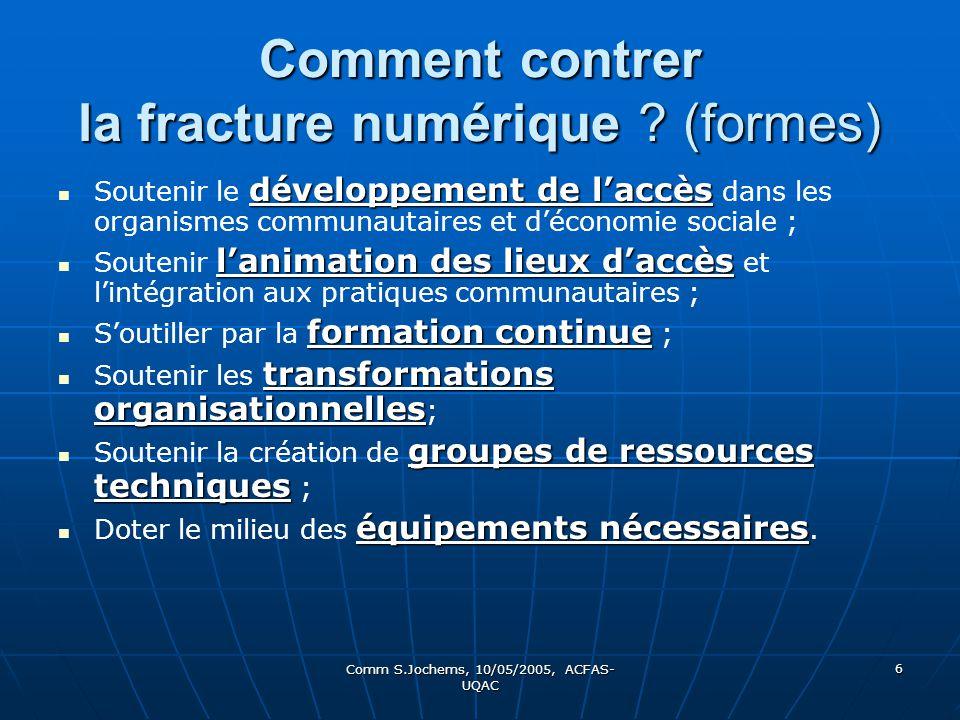 Comm S.Jochems, 10/05/2005, ACFAS- UQAC 6 Comment contrer la fracture numérique ? (formes) développement de laccès Soutenir le développement de laccès