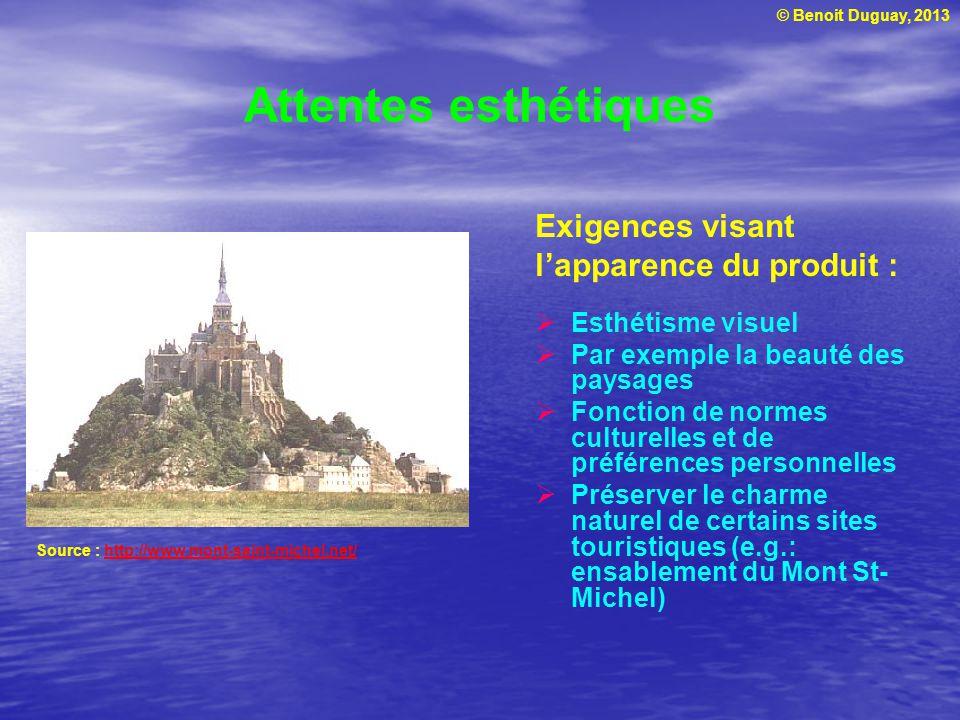 © Benoit Duguay, 2013 Attentes esthétiques Exigences visant lapparence du produit : Esthétisme visuel Par exemple la beauté des paysages Fonction de n
