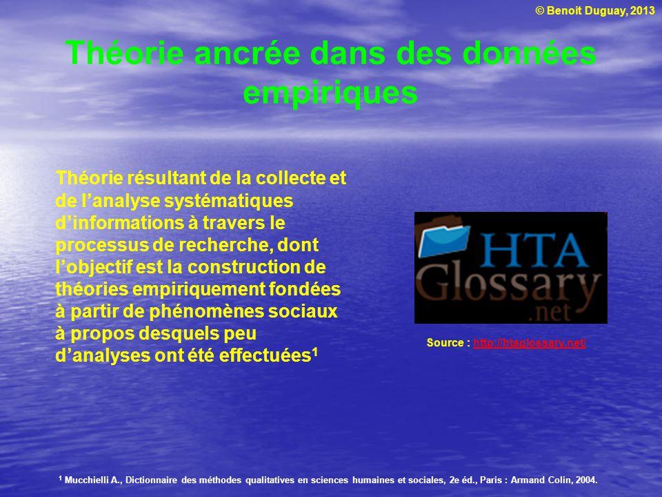 © Benoit Duguay, 2013 Théorie ancrée dans des données empiriques Source : http://htaglossary.net/http://htaglossary.net/ Théorie résultant de la colle