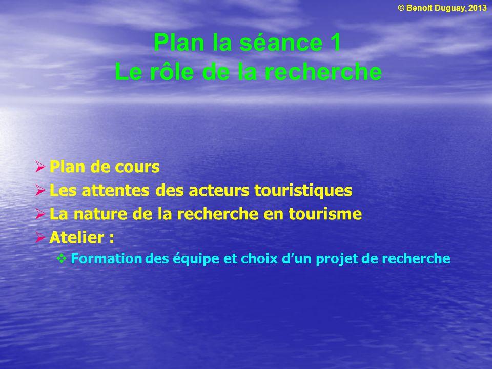 © Benoit Duguay, 2013 Plan la séance 1 Le rôle de la recherche Plan de cours Les attentes des acteurs touristiques La nature de la recherche en touris