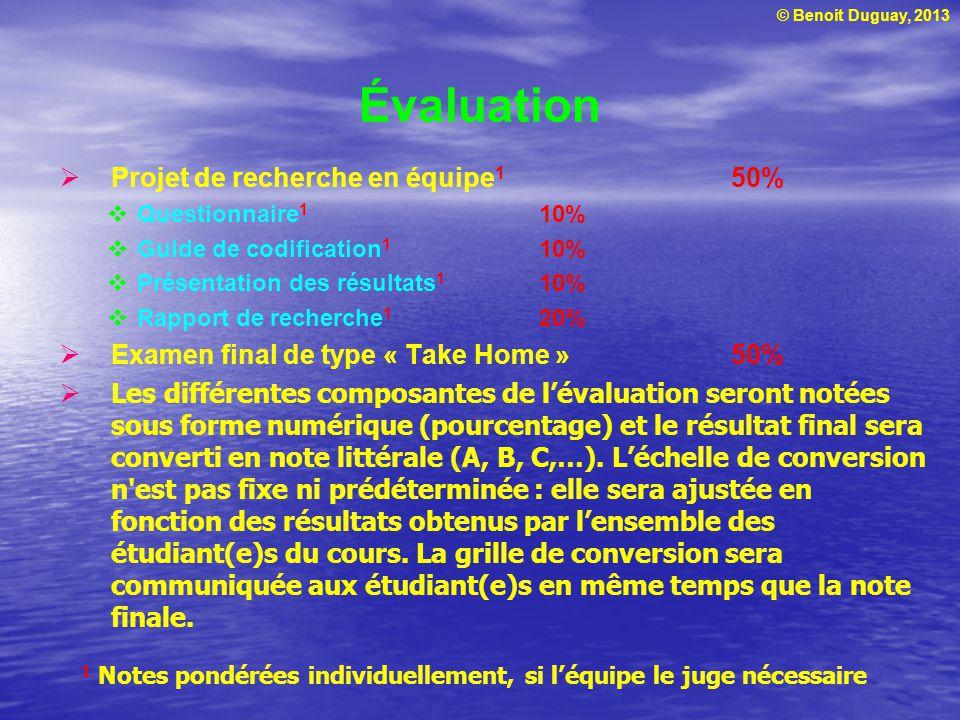 © Benoit Duguay, 2013 Évaluation Projet de recherche en équipe 1 50% Questionnaire 1 10% Guide de codification 1 10% Présentation des résultats 1 10%