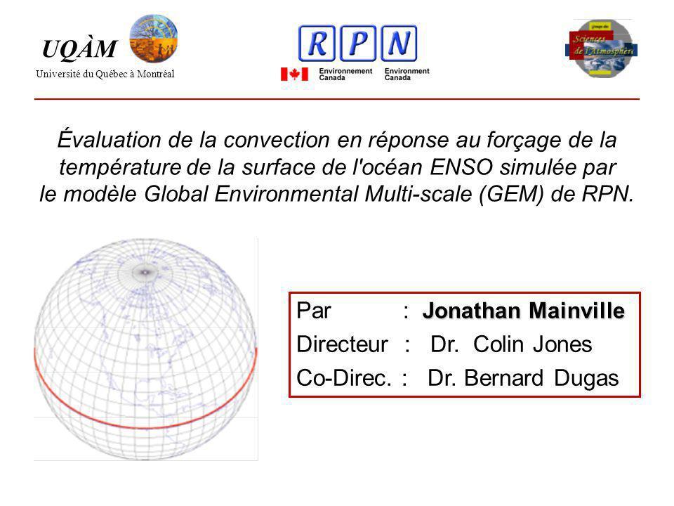Évaluation de la convection en réponse au forçage de la température de la surface de l océan ENSO simulée par le modèle Global Environmental Multi-scale (GEM) de RPN.