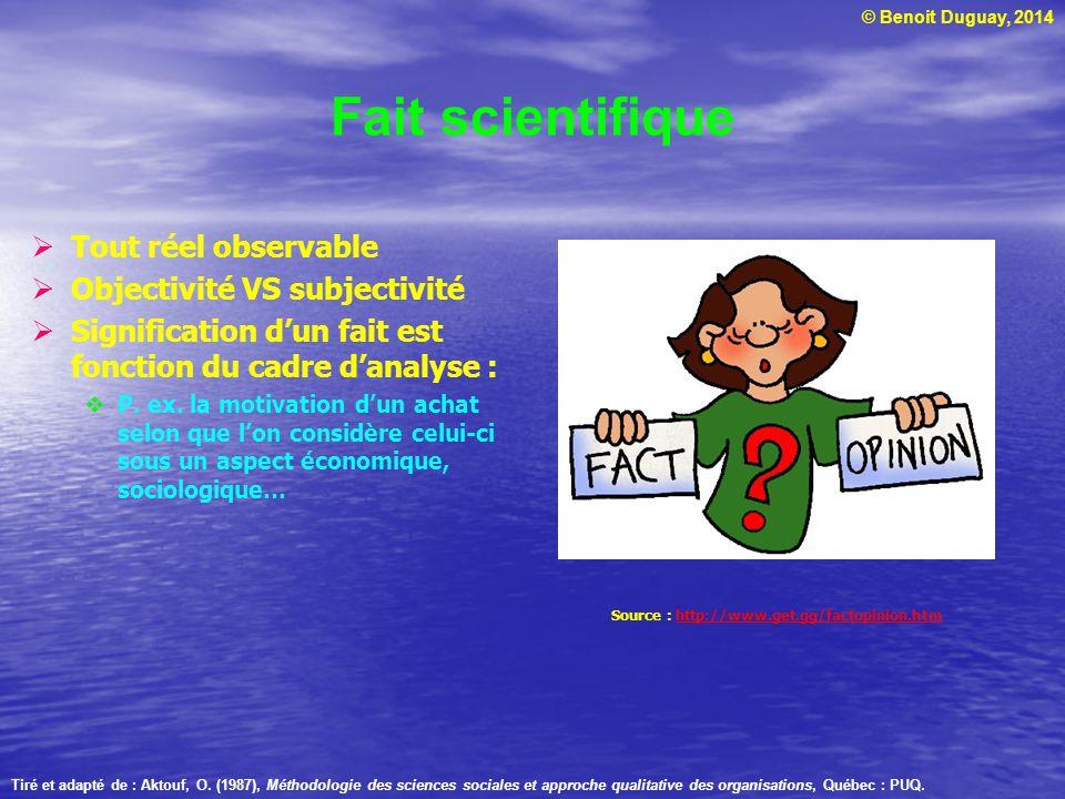 © Benoit Duguay, 2014 Le rationalisme Tradition qui remonte à la Grèce antique en particulier à Platon : http://plato.stanford.edu/entries/ plato/ http://plato.stanford.edu/entries/ plato/ La raison (ratio) prime sur les données de lexpérience ou de lobservation : http://plato.stanford.edu/entries/ rationalism-empiricism/#1.1 http://plato.stanford.edu/entries/ rationalism-empiricism/#1.1 Disciplines : Logique Mathématique Statistique Tiré et adapté de : Aktouf, O.