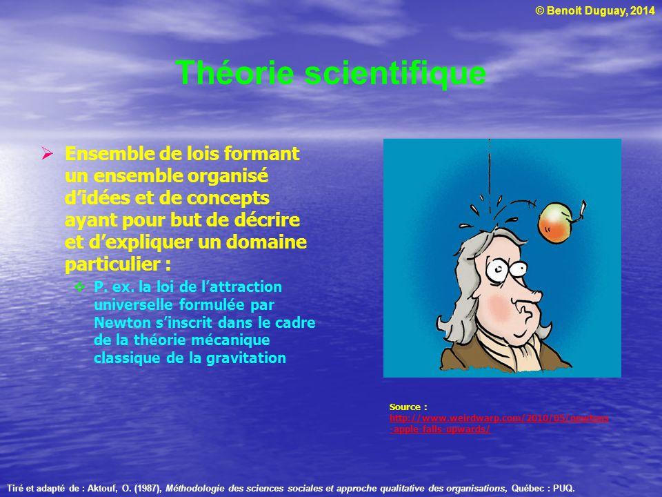 © Benoit Duguay, 2014 Concept scientifique Éléments sur lesquels sarticule une théorie Ont un sens construit complet dans le cadre dun champ scientifique : P.
