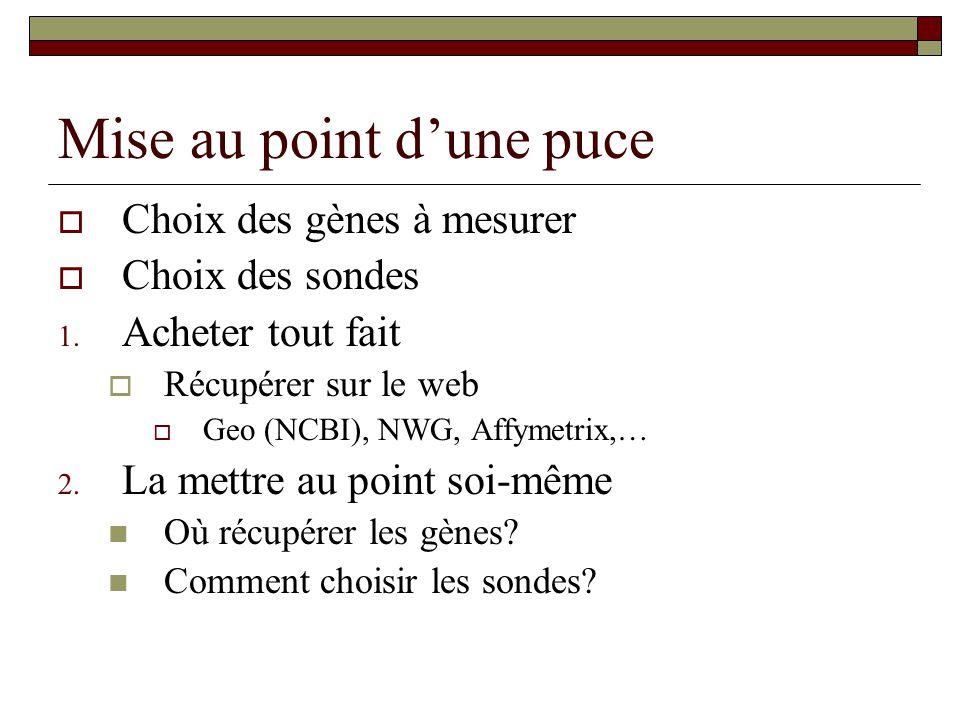 Mise au point dune puce Choix des gènes à mesurer Choix des sondes 1. Acheter tout fait Récupérer sur le web Geo (NCBI), NWG, Affymetrix,… 2. La mettr