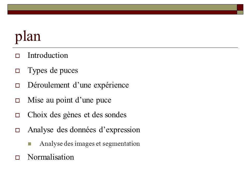 plan Introduction Types de puces Déroulement dune expérience Mise au point dune puce Choix des gènes et des sondes Analyse des données dexpression Ana