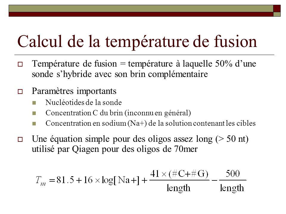 Calcul de la température de fusion Température de fusion = température à laquelle 50% dune sonde shybride avec son brin complémentaire Paramètres impo