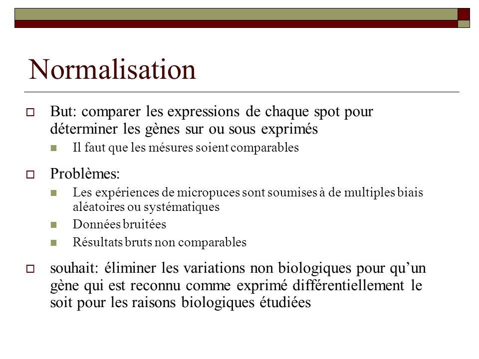Normalisation But: comparer les expressions de chaque spot pour déterminer les gènes sur ou sous exprimés Il faut que les mésures soient comparables P