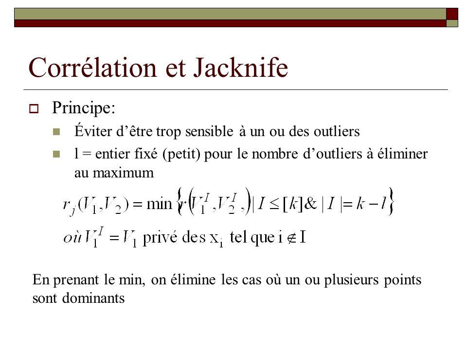 Corrélation et Jacknife Principe: Éviter dêtre trop sensible à un ou des outliers l = entier fixé (petit) pour le nombre doutliers à éliminer au maxim
