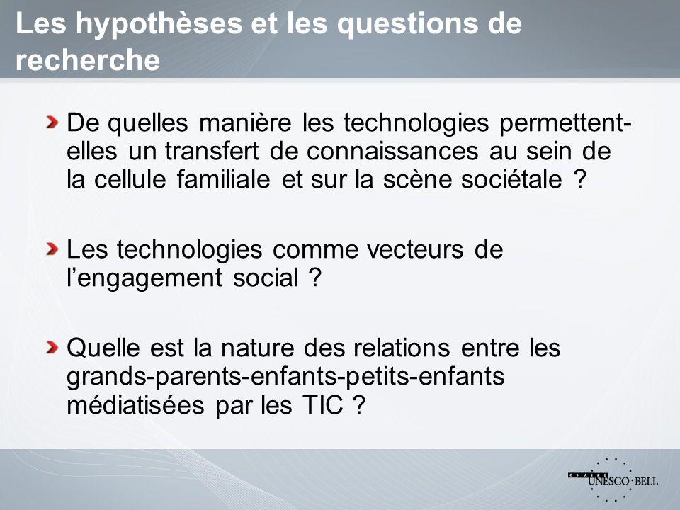 Les hypothèses et les questions de recherche De quelles manière les technologies permettent- elles un transfert de connaissances au sein de la cellule familiale et sur la scène sociétale .