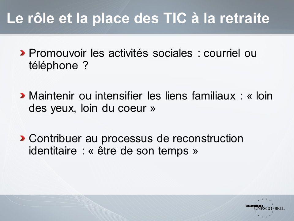 Le rôle et la place des TIC à la retraite Promouvoir les activités sociales : courriel ou téléphone .