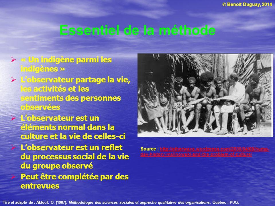© Benoit Duguay, 2014 Essentiel de la méthode « Un indigène parmi les indigènes » Lobservateur partage la vie, les activités et les sentiments des per