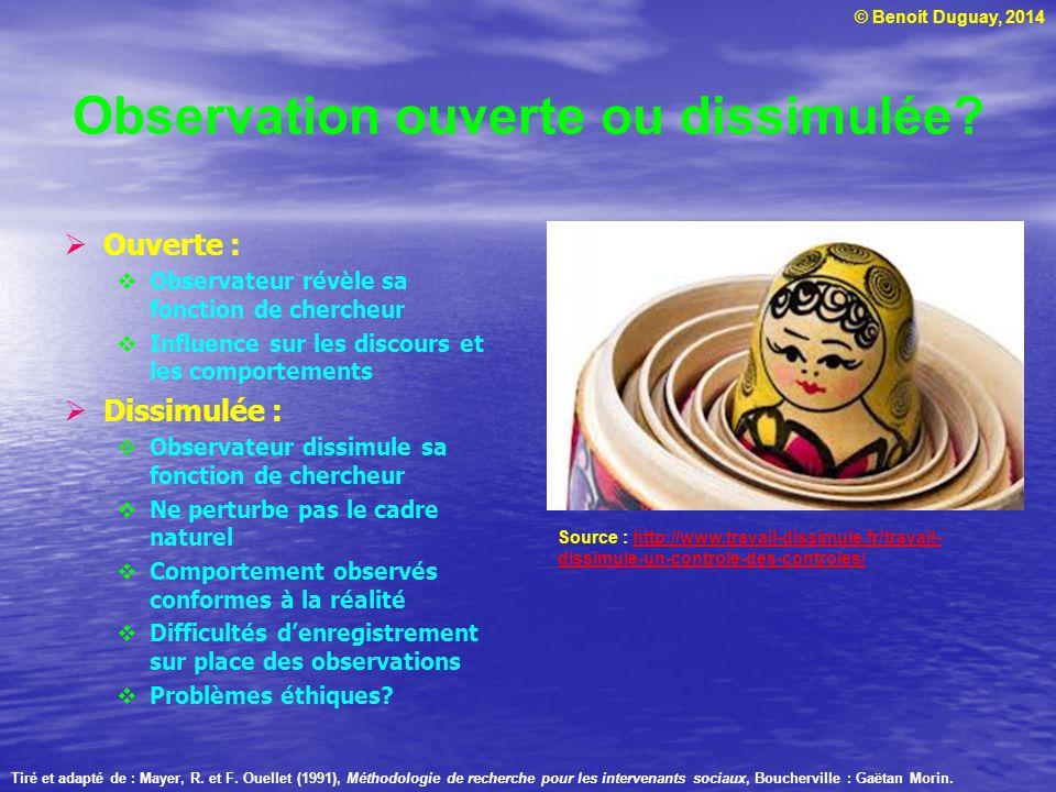 © Benoit Duguay, 2014 Observation ouverte ou dissimulée? Ouverte : Observateur révèle sa fonction de chercheur Influence sur les discours et les compo