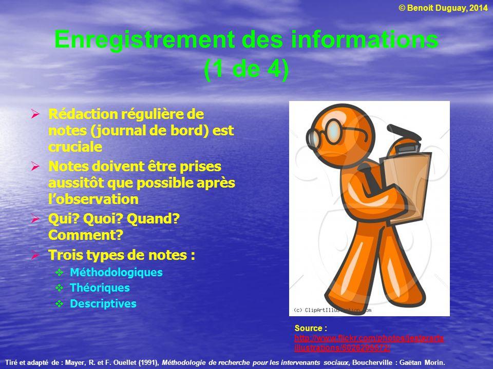 © Benoit Duguay, 2014 Enregistrement des informations (1 de 4) Rédaction régulière de notes (journal de bord) est cruciale Notes doivent être prises a