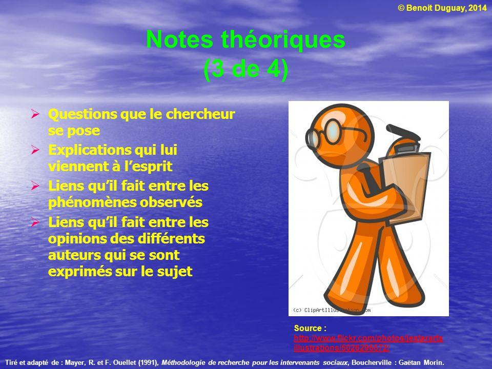 © Benoit Duguay, 2014 Notes théoriques (3 de 4) Questions que le chercheur se pose Explications qui lui viennent à lesprit Liens quil fait entre les p