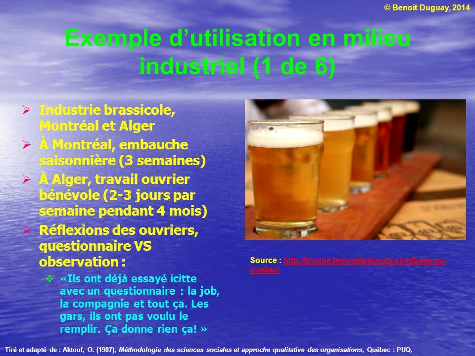 © Benoit Duguay, 2014 Exemple dutilisation en milieu industriel (1 de 6) Industrie brassicole, Montréal et Alger À Montréal, embauche saisonnière (3 s