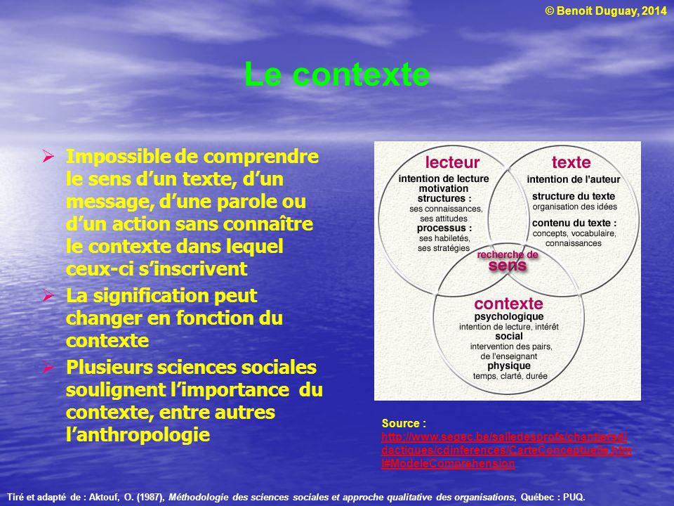 © Benoit Duguay, 2014 Le contexte Impossible de comprendre le sens dun texte, dun message, dune parole ou dun action sans connaître le contexte dans l