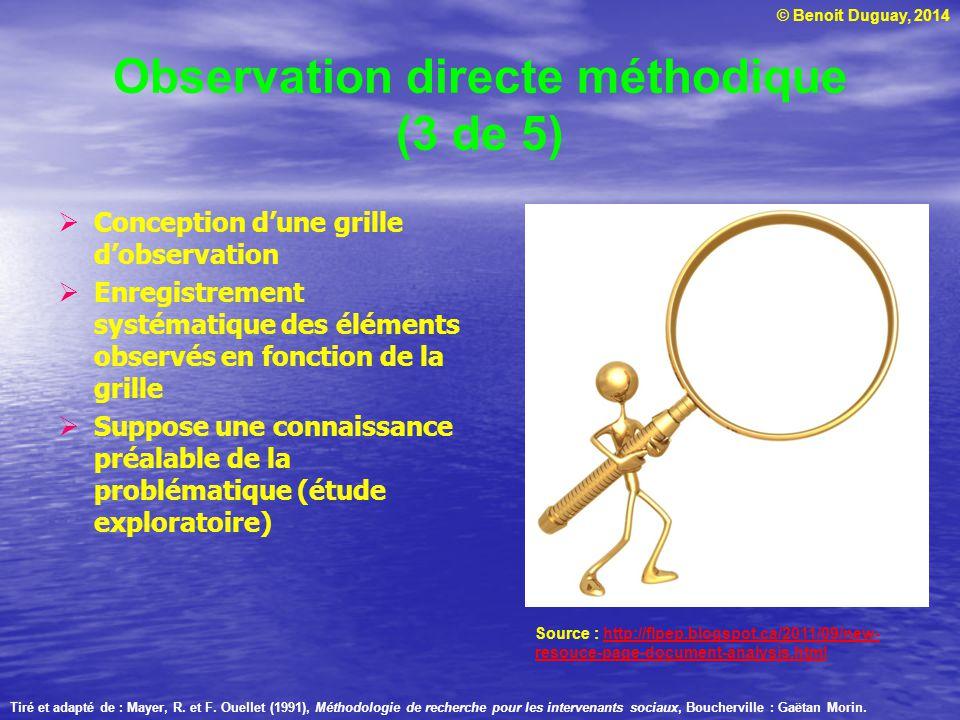 © Benoit Duguay, 2014 Observation directe méthodique (3 de 5) Conception dune grille dobservation Enregistrement systématique des éléments observés en