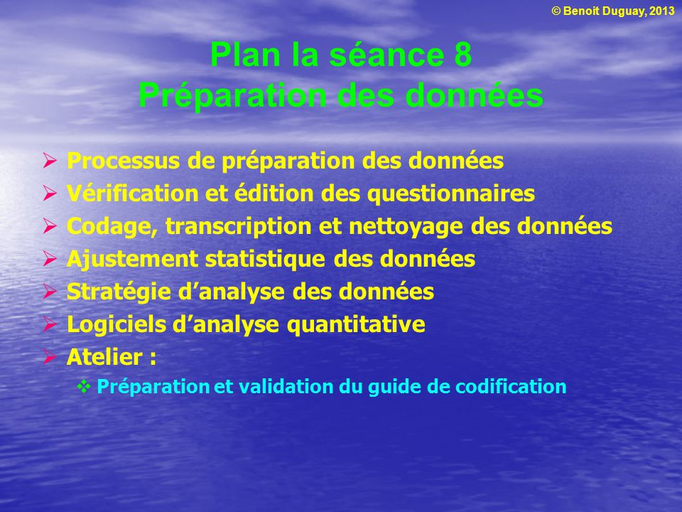 © Benoit Duguay, 2013 Plan la séance 8 Préparation des données Processus de préparation des données Vérification et édition des questionnaires Codage,