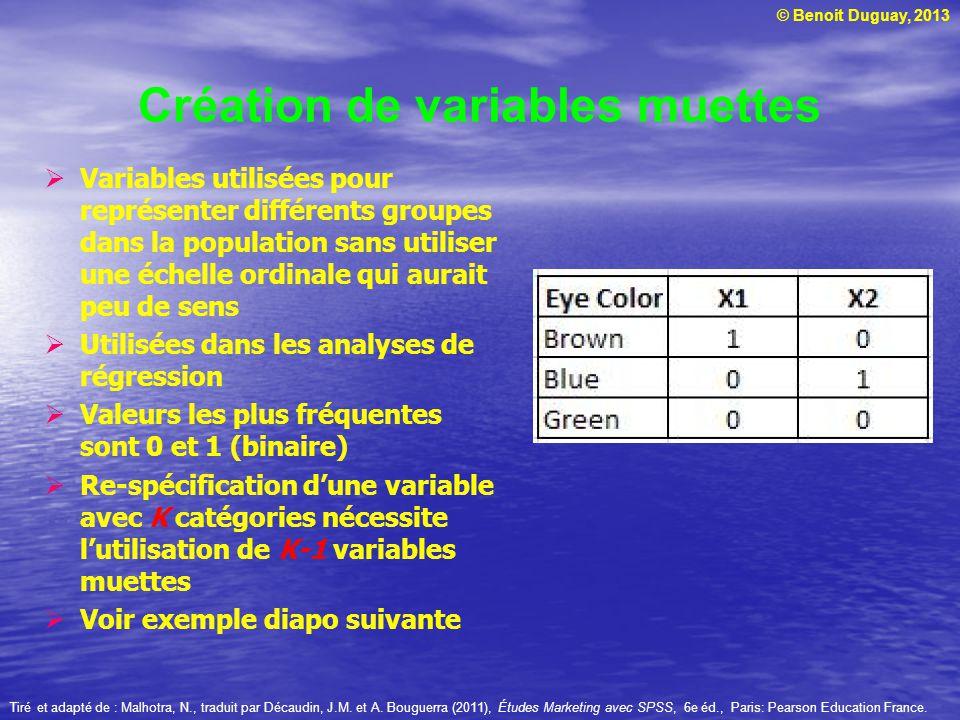 © Benoit Duguay, 2013 Création de variables muettes Variables utilisées pour représenter différents groupes dans la population sans utiliser une échel