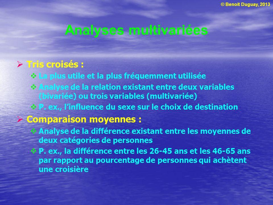 © Benoit Duguay, 2013 Analyses multivariées Tris croisés : La plus utile et la plus fréquemment utilisée Analyse de la relation existant entre deux va