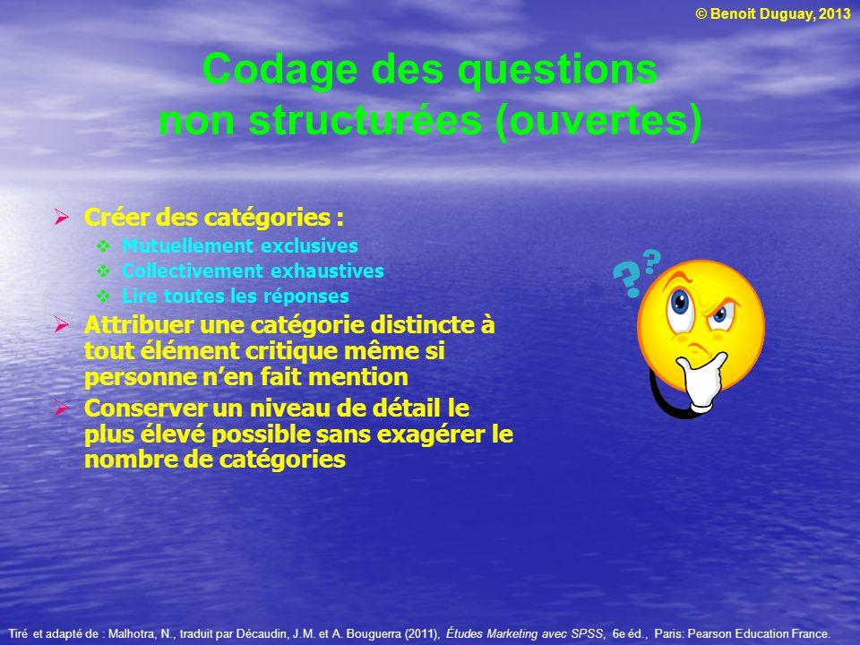 © Benoit Duguay, 2013 Codage des questions non structurées (ouvertes) Créer des catégories : Mutuellement exclusives Collectivement exhaustives Lire t