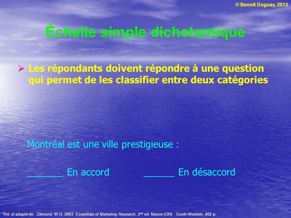 © Benoit Duguay, 2013 Échelle simple dichotomique Les répondants doivent répondre à une question qui permet de les classifier entre deux catégories Ti