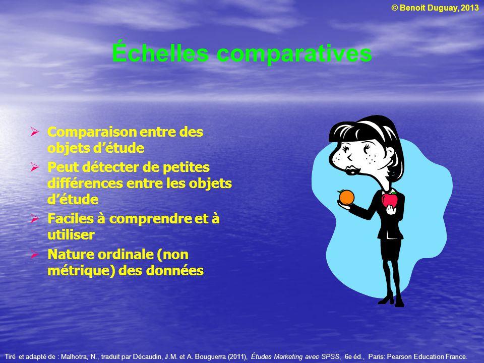 © Benoit Duguay, 2013 Échelles comparatives Comparaison entre des objets détude Peut détecter de petites différences entre les objets détude Faciles à