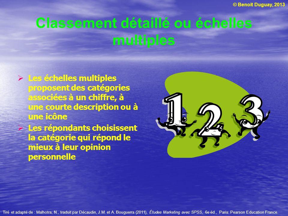 © Benoit Duguay, 2013 Classement détaillé ou échelles multiples Les échelles multiples proposent des catégories associées à un chiffre, à une courte d