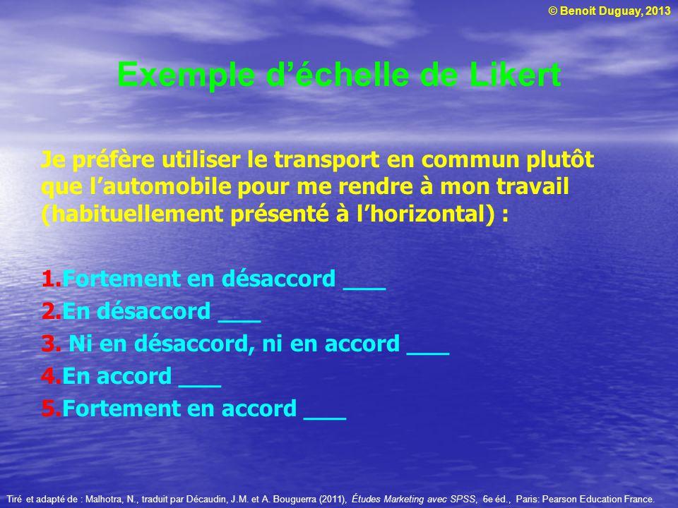© Benoit Duguay, 2013 Exemple déchelle de Likert Je préfère utiliser le transport en commun plutôt que lautomobile pour me rendre à mon travail (habit