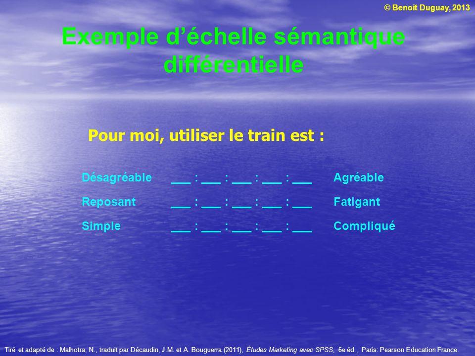 © Benoit Duguay, 2013 Exemple déchelle sémantique différentielle Désagréable___ : ___ : ___ : ___ : ___ Agréable Reposant ___ : ___ : ___ : ___ : ___