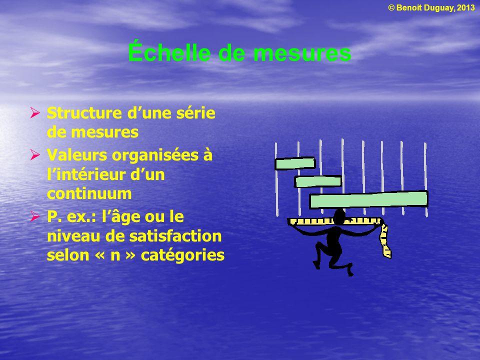 © Benoit Duguay, 2013 Échelles primaires de mesures Échelle nominale Échelle ordinale Échelle dintervalles Échelle de proportions Mesures composées