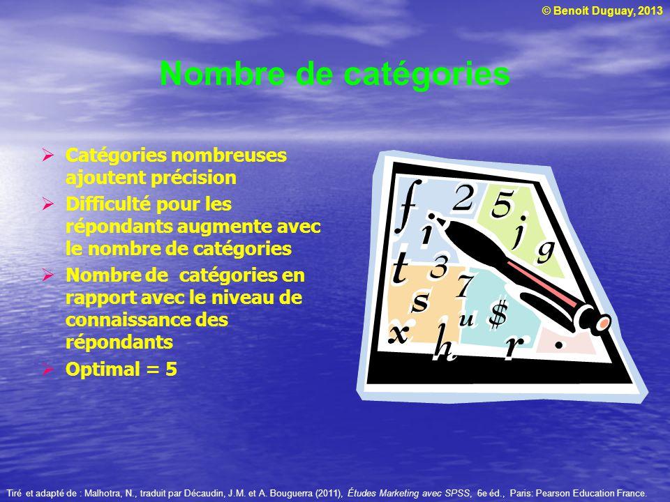 © Benoit Duguay, 2013 Nombre de catégories Catégories nombreuses ajoutent précision Difficulté pour les répondants augmente avec le nombre de catégori