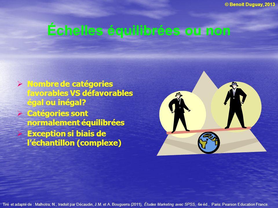 © Benoit Duguay, 2013 Échelles équilibrées ou non Nombre de catégories favorables VS défavorables égal ou inégal? Catégories sont normalement équilibr