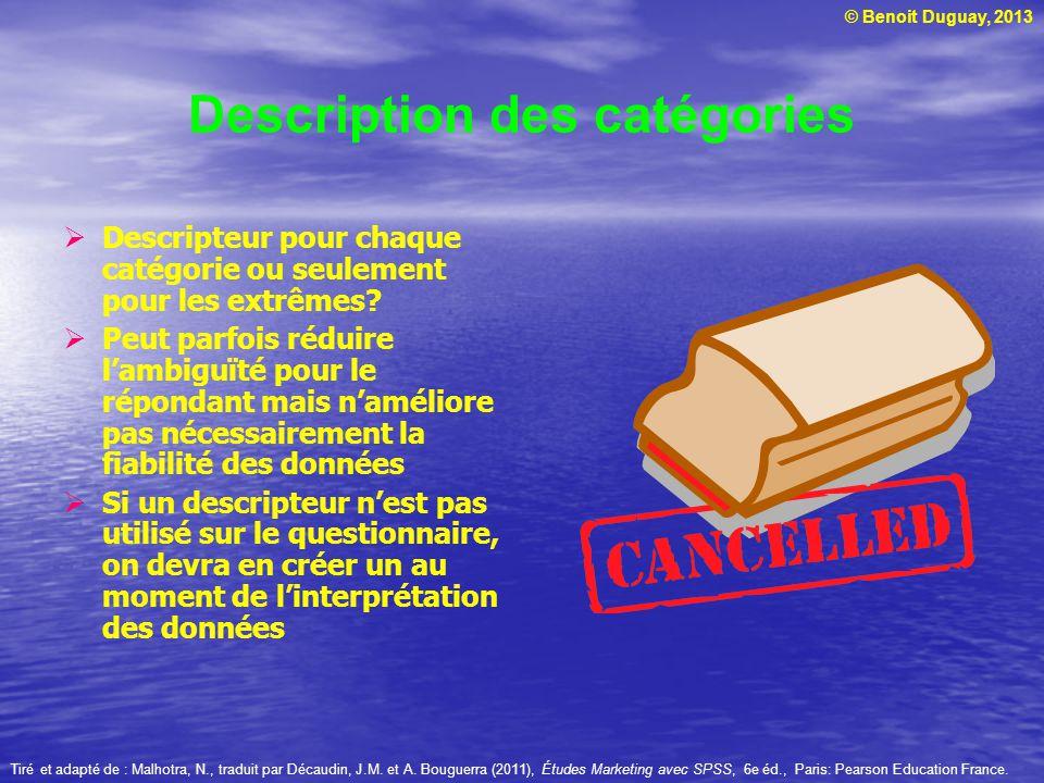 © Benoit Duguay, 2013 Description des catégories Descripteur pour chaque catégorie ou seulement pour les extrêmes? Peut parfois réduire lambiguïté pou
