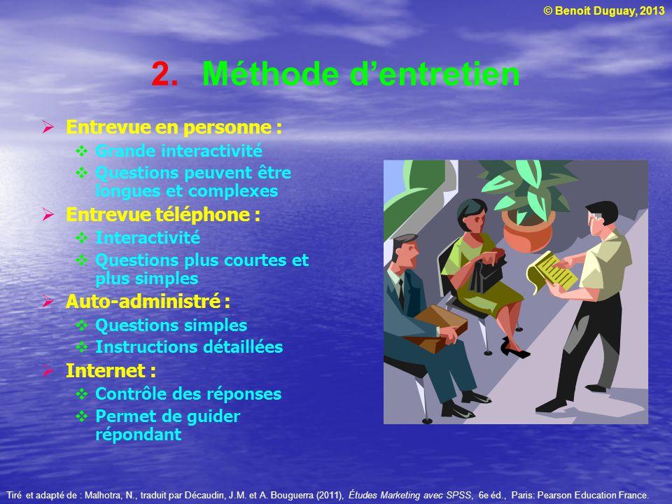 © Benoit Duguay, 2013 2.Méthode dentretien Entrevue en personne : Grande interactivité Questions peuvent être longues et complexes Entrevue téléphone