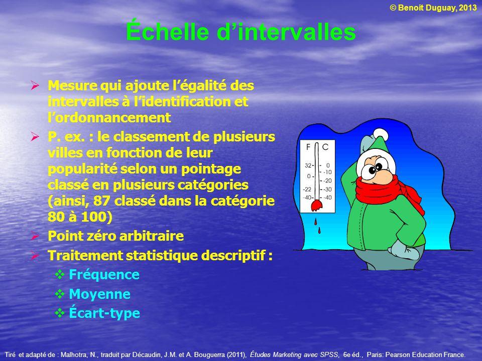 © Benoit Duguay, 2013 Échelle dintervalles Mesure qui ajoute légalité des intervalles à lidentification et lordonnancement P. ex. : le classement de p