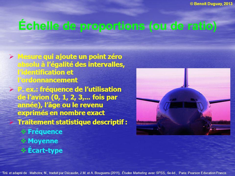 © Benoit Duguay, 2013 Échelle de proportions (ou de ratio) Mesure qui ajoute un point zéro absolu à légalité des intervalles, lidentification et lordo
