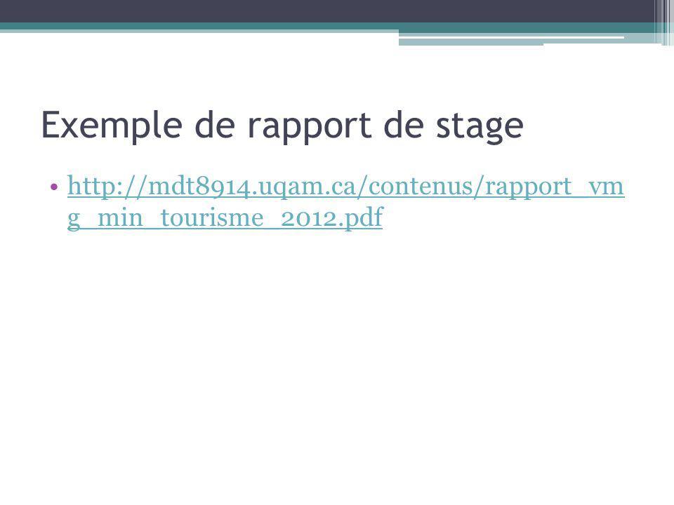 Exemple de rapport de stage http://mdt8914.uqam.ca/contenus/rapport_vm g_min_tourisme_2012.pdfhttp://mdt8914.uqam.ca/contenus/rapport_vm g_min_tourism