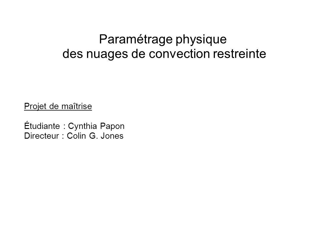 Paramétrage physique des nuages de convection restreinte Projet de maîtrise Étudiante : Cynthia Papon Directeur : Colin G.